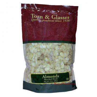 Torn & Glasser Blanched Sliced Natural Almonds 22oz