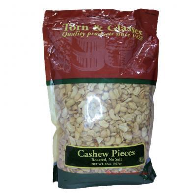 Torn & Glasser Cashew Pieces Roasted No Salt 32oz