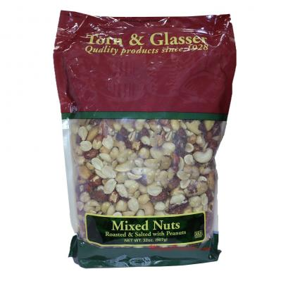Torn & Glasser Mixed Nuts Peanuts Roasted Salted 32oz