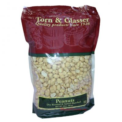 Torn & Glasser Peanuts Dry Roasted Salted Blanched 32oz